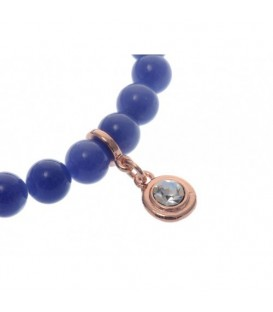Armband van donkerblauwe natuursteen kralen (Agaat)