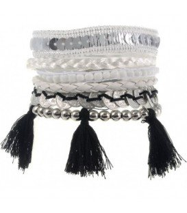 Armband met witte en zwarte accenten (magneet)
