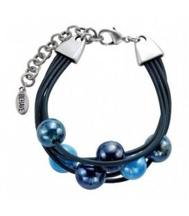 Zwarte waxkoord armband met blauwe keramische kralen