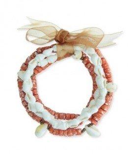 Oranje armband van 5-rijen met diverse kralen , schelpen en strik