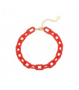 Rode armband van kunststof schakels