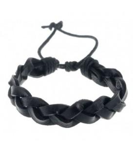 Zwarte leren armband met knoopkoord sluiting
