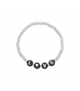 Zilverkleurige armband met kralen met het woord 'love'.
