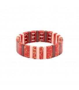 Rode arrmband met rechthoekige kralen met marmerpatroon
