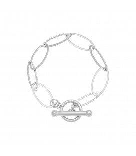 Zilverkleurige armband met grote schakels