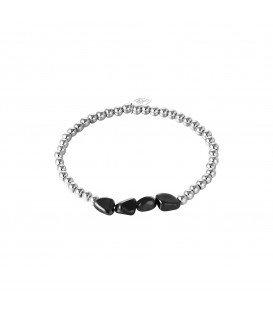 Armband met zilveren kralen en zwarte stenen