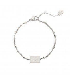 Zilverkleurige armband met vierkanten bedel met afbeelding van een raket
