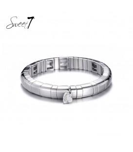 Zilverkleurige armband met vierkante kralen