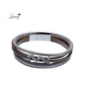 Zilverkleurige leren armband met vijf steentjes