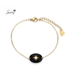 Goudkleurig armbandje met zwarte steen met een ster