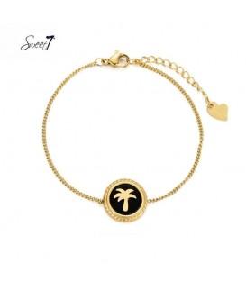 Goudkleurig armbandje met ronde zwarte bedel met palmboom