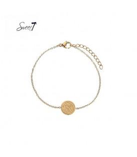 Goudkleurige armband met ronde bedel