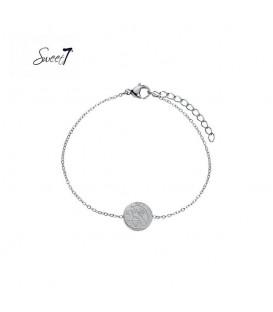 Zilverkleurige armband met ronde bedel