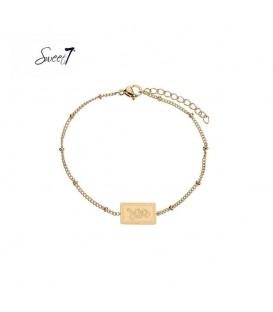 Goudkleurige armband met bolletjes en rechthoekige bedel