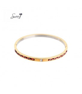 Goudkleurige bangle armband met grijze gevlochten details
