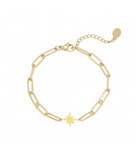 Goudkleurige schakelarmband met gele ster