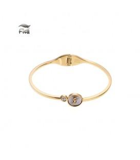Goudkleurige spang armband met cirkel en een steentje