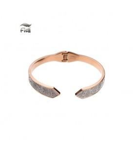 rosegoudkleurige spang armband met punten aan de uiteinden en kleine steentjes
