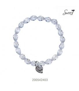 elastische armband met grijze glaskralen
