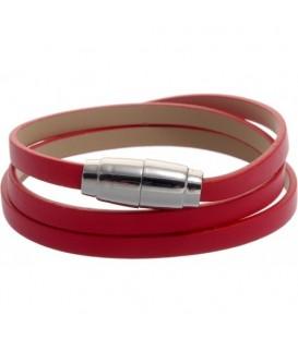 rode armband van imitatieleer en magneetsluiting