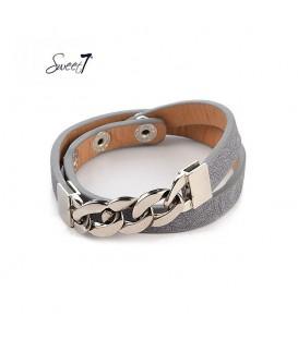 armband van grijs imitatieleer met zilverkleurige details