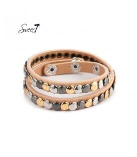 armband van beige imitatieleer met kleine cirkeltjes