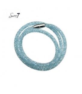 lichtblauwe wikkelarmband met magneetsluiting