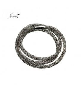 Zwarte wikkelarmband met magneetsluiting