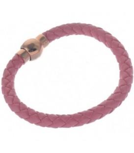 gevlochten armbandje van roze imitatieleer met magneetsluiting