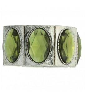 elastische brede armband met groene ovale stenen