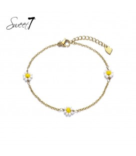 goudkleurig enkelbandje met drie wit met gele bloemetjes