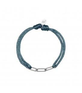 grijze satijnen armband met zilverkleurige schakels