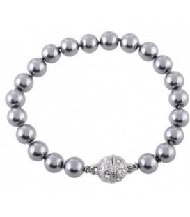 armband met grijze parels en een magneetsluiting met steentjes
