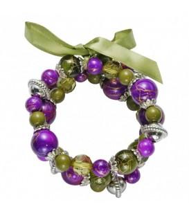 rekarmband met groene en paarse kralen en een groene strik