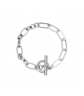 zilverkleurige armband met grote schakels en een kapittelsluiting