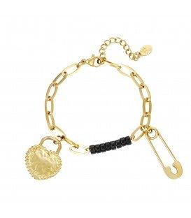 goudkleurige schakelarmband met twee bedels en zwarte kraaltjes