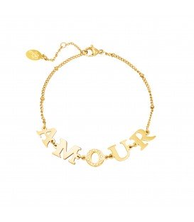 goudkleurige armband met amour tekst als bedels en zirkonia steentjes