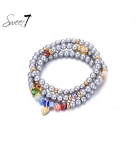 zilver gekleurde kralen armband van murano glaskralen