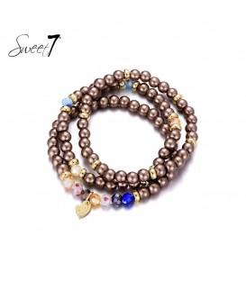 bruin gekleurde kralen armband van murano glaskralen
