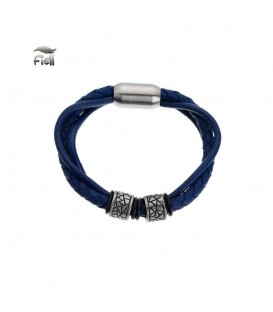 blauwe leren armband met zilverkleurige elementen