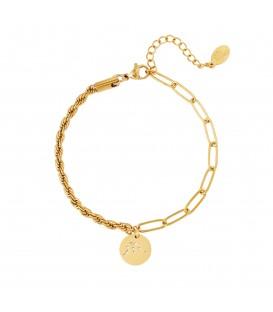 goudkleurige armband met sterrenbeeld waterman