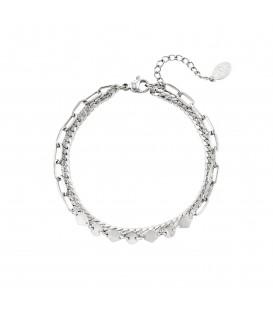 zilverkleurige dubbellaagse armband in chain-stijl