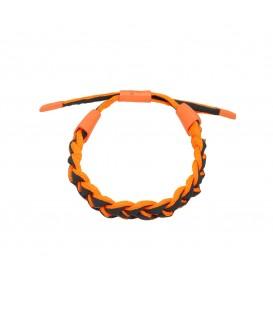 oranje en zwart gevlochten armband